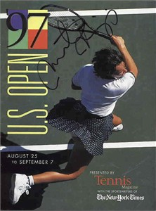 Martina Hingis autographed 1997 U.S. Open tennis magazine (full name signature)