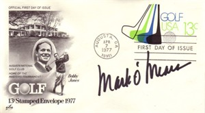 Mark O'Meara autographed Masters Golf First Day Cover with Bobby Jones cachet