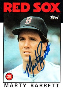 Marty Barrett autographed Boston Red Sox 1986 Topps card