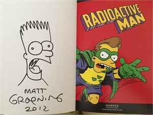 Matt Groening autographed doodled dated Simpsons Radioactive Man hardcover comic book