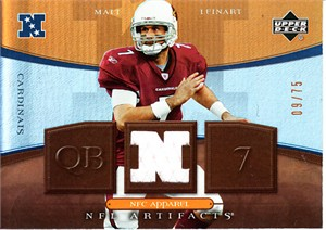 Matt Leinart 2007 Upper Deck Artifacts NFC Apparel worn game jersey card #9/75
