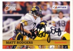 Matt Rodgers Iowa Hawkeyes certified autograph 1992 Courtside card