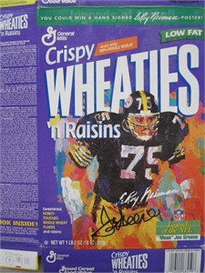 Mean Joe Greene autographed Pittsburgh Steelers LeRoy Neiman artwork Wheaties box