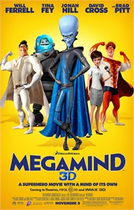 Megamind 3D mini movie poster (Will Ferrell Tina Fey Jonah Hill Brad Pitt)