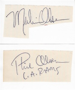 Merlin Olsen & Phil Olsen autographs or cut signatures mounted on 3x5 index cards