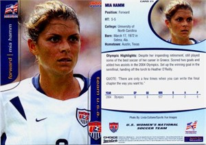 Mia Hamm 2004 U.S. Women's National Team soccer card #21