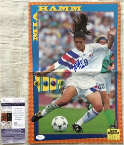 Mia Hamm autographed US Soccer Sports Illustrated for Kids mini poster (old full name signature)