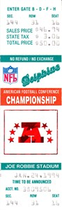 Miami Dolphins 1994 AFC Championship Game phantom full ticket