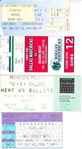 Miami Heat lot of 4 vintage 1990s ticket stubs (Glen Rice)