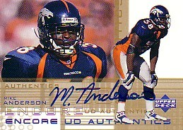 Mike Anderson certified autograph Denver Broncos 2000 Upper Deck card