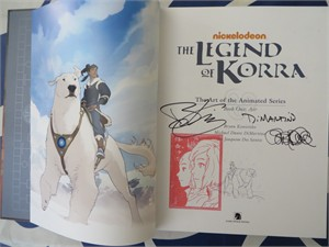 Michael DiMartino & Bryan Konietzko autographed & stamped Legend of Korra Art of the Animated Series Book One