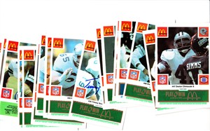 Michael Downs Ed (Too Tall) Jones Timmy Newsome autographed 1986 Dallas Cowboys McDonald's team card set