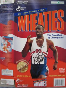 Michael Johnson autographed 1996 Olympic commemorative Wheaties box