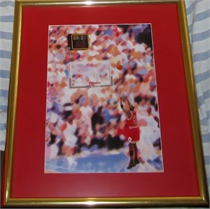 Michael Jordan 1998 NBA Finals winning shot print on canvas matted & framed