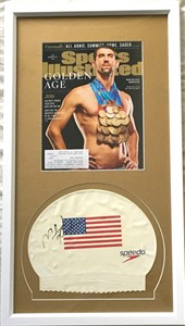 Michael Phelps autographed Speedo USA swim cap matted and framed with 2016 Olympics Sports Illustrated cover