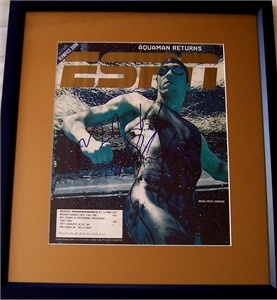 Michael Phelps autographed 2008 ESPN Magazine cover matted & framed