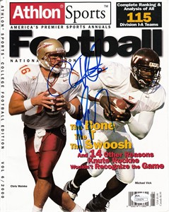 Michael Vick & Chris Weinke autographed Athlon 2000 College Football Annual magazine cover (JSA)