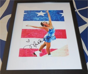 Michelle Kwan autographed 8x10 skating photo matted & framed