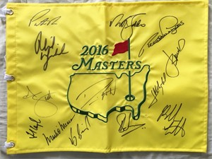 2016 Masters flag autographed by 13 winners (Phil Mickelson Fred Couples Nick Faldo Adam Scott Jordan Spieth Bubba Watson)