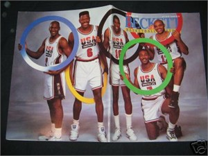Michael Jordan Charles Barkley Patrick Ewing Magic Johnson Karl Malone (Dream Team) 1992 Beckett Basketball magazine