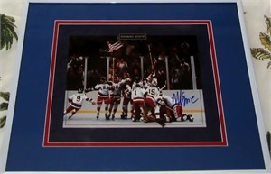 Mike Eruzione autographed 1980 Miracle on Ice USA Olympic Hockey celebration 8x10 photo double matted & framed