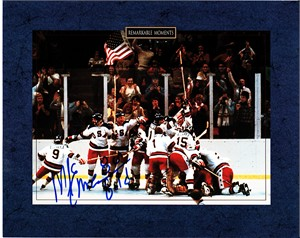 Mike Eruzione autographed 1980 Miracle on Ice USA Olympic Hockey celebration 8x10 photo inscribed 80 Gold