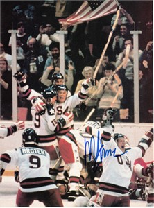 Mike Eruzione autographed 1980 Miracle on Ice USA Olympic Hockey celebration full page magazine photo
