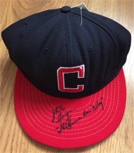 Mike Hargrove autographed Cleveland Indians authentic throwback cap or hat inscribed The Human Rain Delay