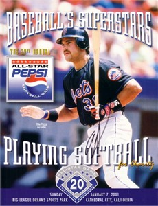 Mike Piazza autographed New York Mets 2001 Pepsi All-Star Softball program