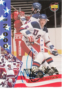 Mike Ramsey certified autograph 1980 USA Hockey Team 1995 Signature Rookies Miracle on Ice card