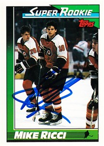 Mike Ricci autographed Philadelphia Flyers 1990-91 Topps Rookie Card