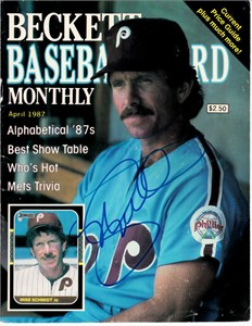 Mike Schmidt autographed Philadelphia Phillies 1987 Beckett Baseball cover