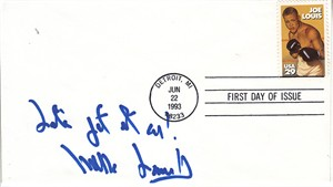 Mills Lane autographed 1993 Joe Louis First Day Cover inscribed Let's get it on!