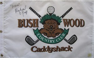 Michael O'Keefe autographed Caddyshack Bushwood Country Club golf pin flag inscribed Noonan (SSG)