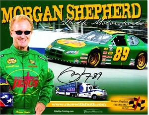 Morgan Shepherd autographed NASCAR photo