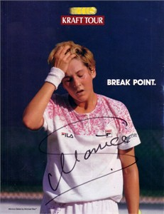 Monica Seles autographed tennis magazine full page photo