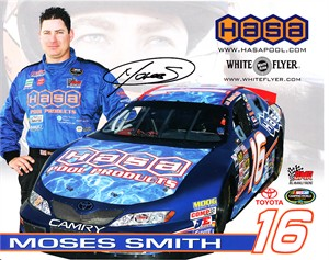 Moses Smith autographed NASCAR 8x10 photo card