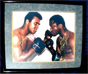 Muhammad Ali & Joe Frazier autographed 16x20 poster size photo matted & framed