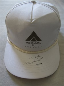 Muhammad Ali autographed cologne logo cap or hat dated & inscribed To Andrew (JSA)