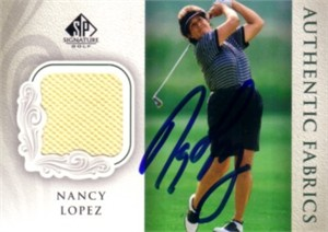 Nancy Lopez autographed 2004 SP Signature golf tournament worn shirt card