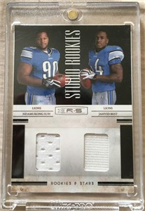 Ndamukong Suh & Jahvid Best 2010 Panini Rookies & Stars event worn jersey swatch card #236/299