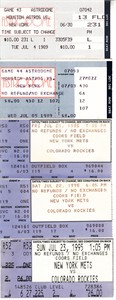 New York Mets lot of 5 vintage road game ticket stubs