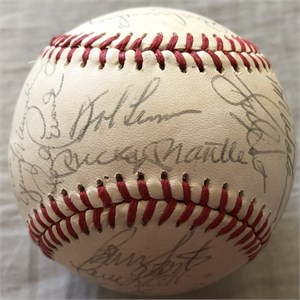 1982 New York Yankees team autographed AL baseball (Mickey Mantle Yogi Berra Whitey Ford Catfish Hunter Graig Nettles)