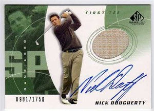 Nick Dougherty certified autograph worn shirt 2002 SP Golf card