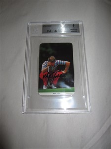 Nick Faldo autographed 1986 Fax Pax golf Rookie Card BGS graded 9 MINT JSA
