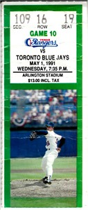 Nolan Ryan 7th No-Hitter May 1 1991 Rangers vs. Blue Jays season ticket stub (creased)