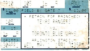 Nolan Ryan 7th No-Hitter May 1 1991 Rangers vs. Blue Jays ticket stub (Ticketmaster)