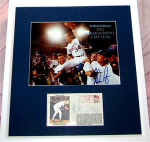 Nolan Ryan & Roberto Alomar autographed 7th No-Hitter cachet & photo matted & framed