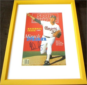 Nolan Ryan autographed Texas Rangers Sports Illustrated cover matted & framed