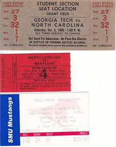 North Carolina Tar Heels lot of 3 vintage football road game ticket stubs